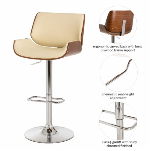 Glitzhome Adjustable Height Swivel Bar Stool - Cream Perspective: bottom