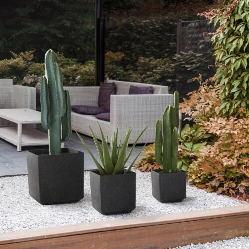 Glitzhome Oversized Faux Marble Square Plastic Planter -  Black Perspective: bottom