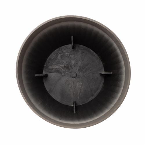 Glitzhome Oversized Faux Concrete Round Plastic Fluted Pot Planter Perspective: bottom