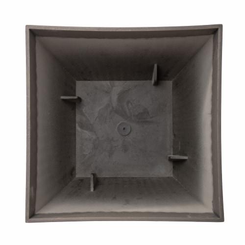 Glitzhome Faux Concrete Square Plastic Fluted Pot Planter Perspective: bottom