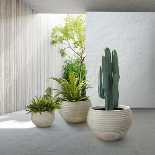 Glitzhome Fauz Porcelain Round Fluted Planters Perspective: bottom