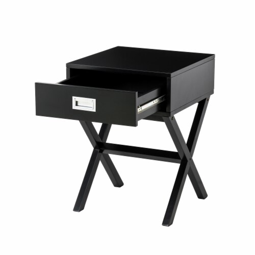 Glitzhome Modern Wooden X-Leg End Table - Black Perspective: bottom