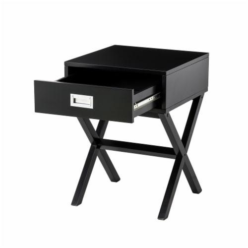 Glitzhome Modern Wooden X-Leg End Table - Black Perspective: bottom