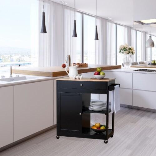 Glitzhome Basic Wooden Kitchen Island - Black Perspective: bottom