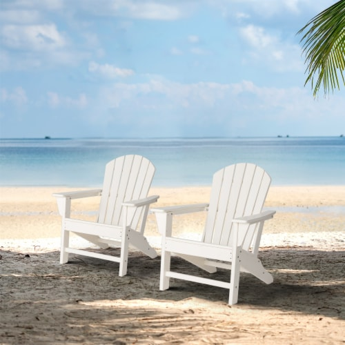 Glitzhome All-Weather Adirondack Chair - White Perspective: bottom