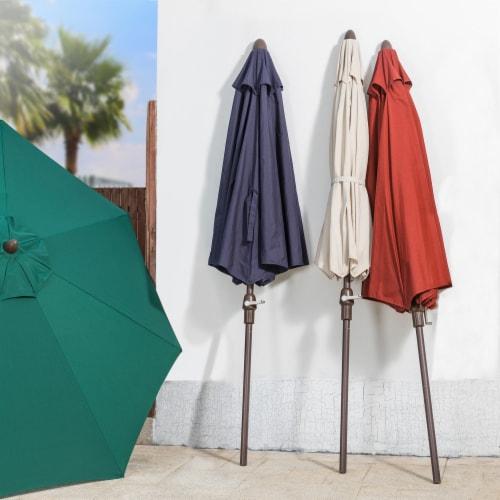 Glitzhome Aluminium Self Tilt Market Patio Umbrella - Navy Blue Perspective: bottom