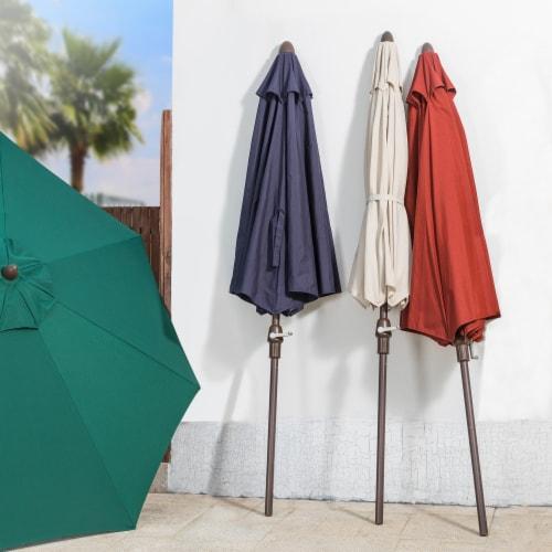 Glitzhome Aluminium Self Tilt Market Patio Umbrella - Wine Red Perspective: bottom