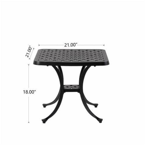 Glitzhome Cast Aluminium Patio Garden Square Side Table - Black Perspective: bottom