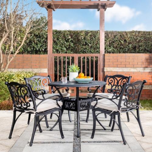 Glitzhome Cast Aluminium Patio Garden Round Dining Table- Black Perspective: bottom