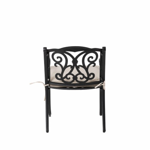 Glitzhome Cast Aluminium Dining Chairs with Beige Cushions Set Perspective: bottom