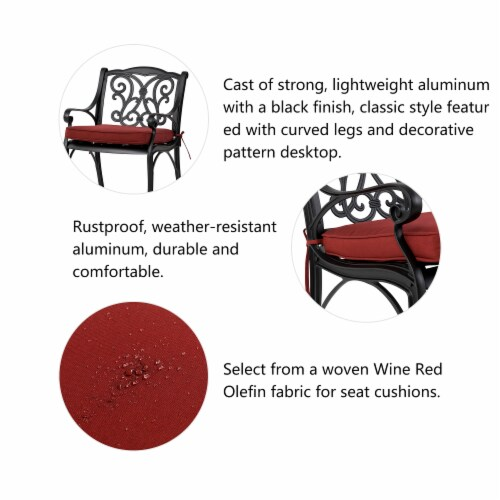 Glitzhome Cast Aluminium Dining Chairs with Red Cushions Set Perspective: bottom