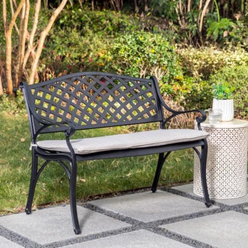 Glitzhome Aluminium Patio Garden Bench with Beige Cushion Perspective: bottom