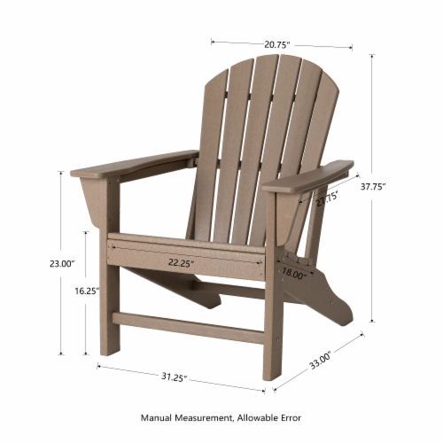Glitzhome All-Weather Adirondack Chair - Tan Perspective: bottom