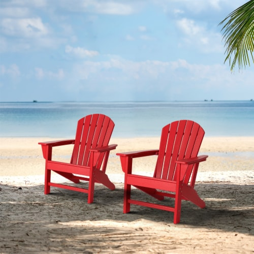 Glitzhome Adirondack Chair - Red Perspective: bottom
