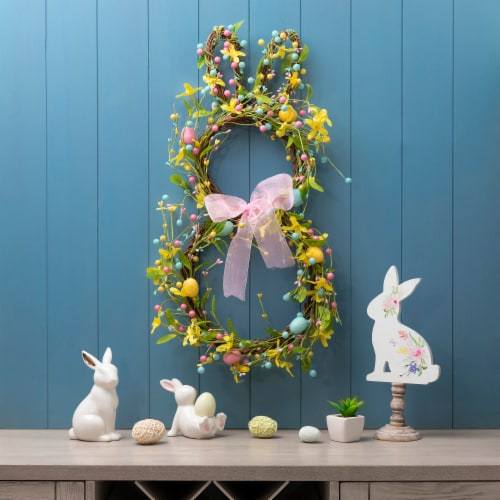 Glitzhome Easter Bunny Shaped Wreath with Eggs & Satin Ribbon Bow Perspective: bottom