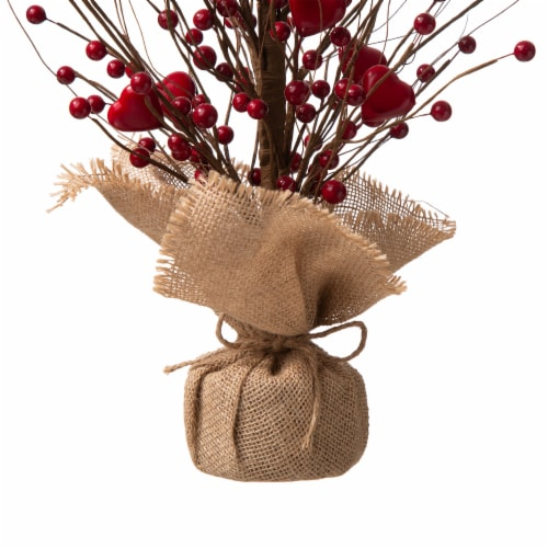 Glitzhome Valentine's Berry Heart Table Tree Decoration Perspective: bottom