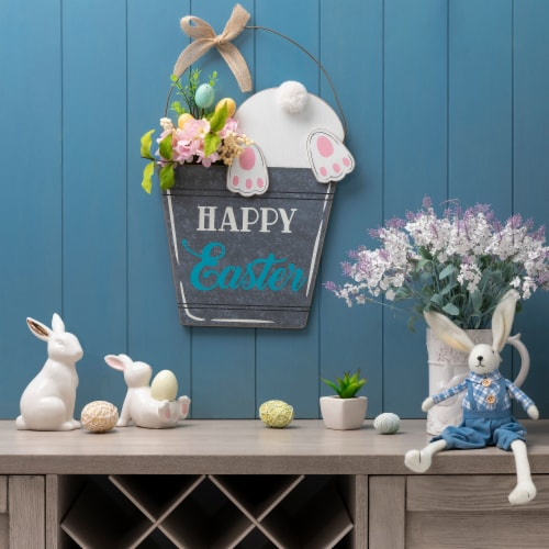 Glitzhome Wooden Easter Bunny Eggs and Bucket Hanging Wall Decor Perspective: bottom
