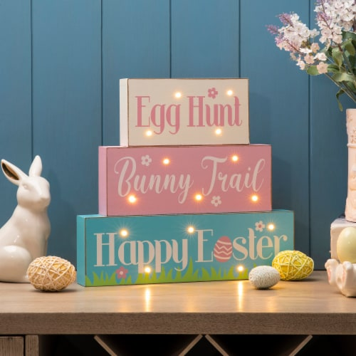 Glitzhome Easter LED Lighted Wooden/Metal Block Word Sign Perspective: bottom