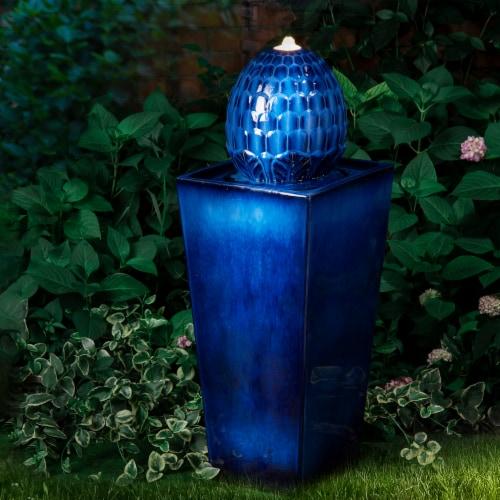 Glitzhome Ceramic Sphere Pedestal Fountain - Blue Perspective: bottom