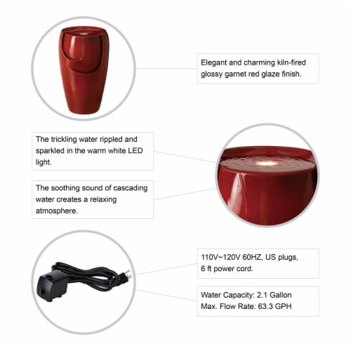 Glitzhome Ceramic Outdoor Fountain - Red Perspective: bottom