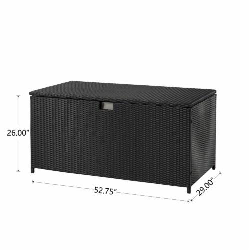 Glitzhome Outdoor Patio Garden Wicker Storage Deck Box - Black Perspective: bottom