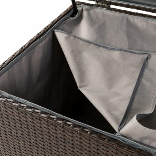 Glitzhome Outdoor Patio Garden Wicker Storage Deck Box - Brown Perspective: bottom