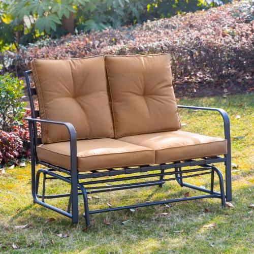 Glitzhome Outdoor Patio Garden Loveseat Glider Chair - Tan Perspective: bottom