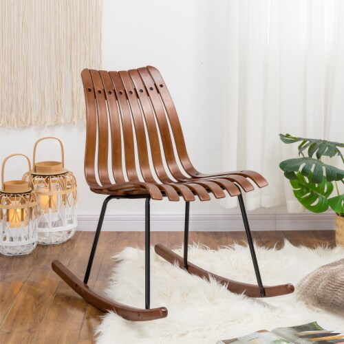 Glitzhome Contoured Natural Bamboo Rocking Chair Perspective: bottom