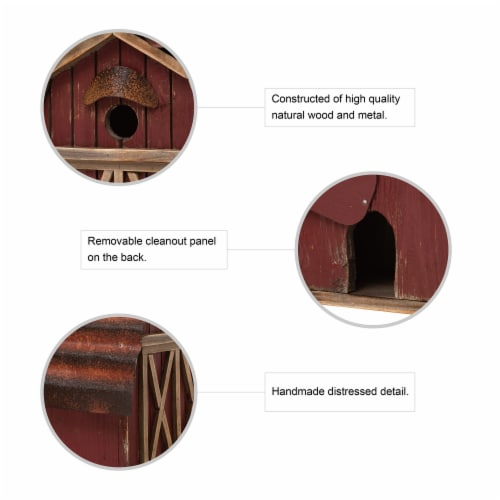 Glitzhome Hanging Wood Red Barn Outdoor Bird House Perspective: bottom