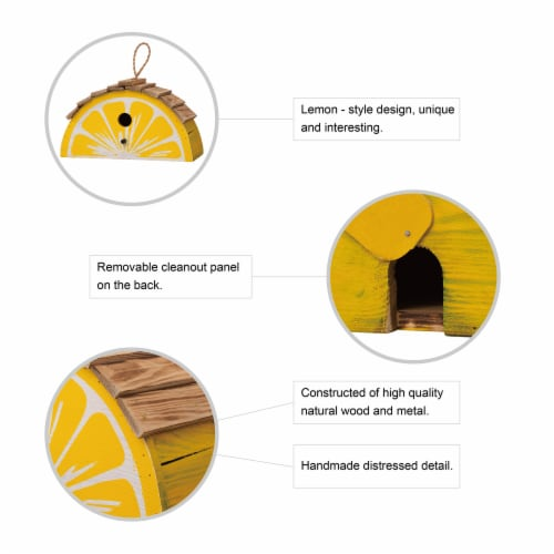 Glitzhome Hanging Wooden Lemon Decorative Garden Birdhouse - Yellow/White Perspective: bottom