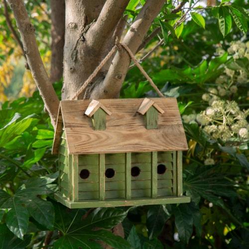 Glitzhome Hanging Wooden Distressed Garden Birdhouse - Green Perspective: bottom
