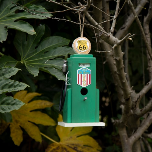 Glitzhome Hanging Wood Gas Pump Birdhouse - Green Perspective: bottom