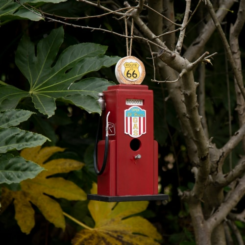 Glitzhome Hanging Wood Gas Pump Birdhouse - Red Perspective: bottom