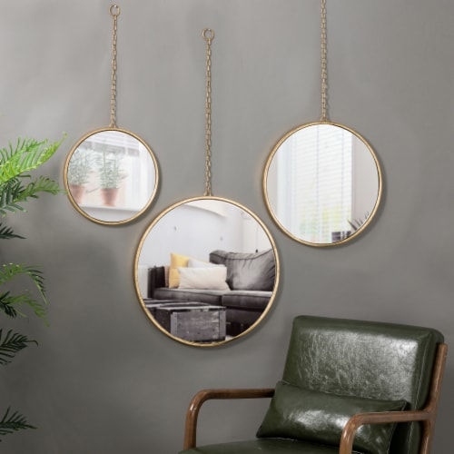Glitzhome Regency Modern Gold Metal Chain Hanging Mirrors Perspective: bottom