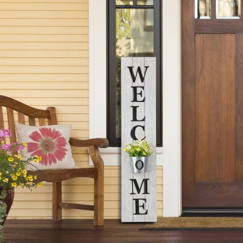 Glitzhome Wooden Welcome Porch Sign with Metal Planter - White Perspective: bottom