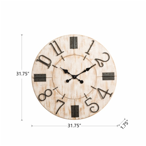 Glitzhome Oversized Farmhouse Round Wall Clock - White Perspective: bottom