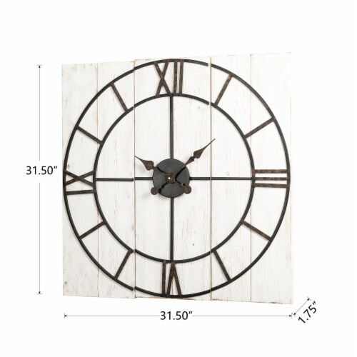 Glitzhome Oversized Farmhouse Round Wall Clock Perspective: bottom