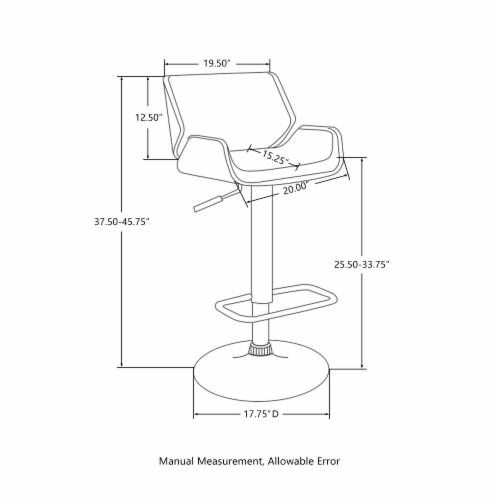 Glitzhome Mid-Century Modern Adjustable Height Swivel Bar Stool - Gray Perspective: bottom