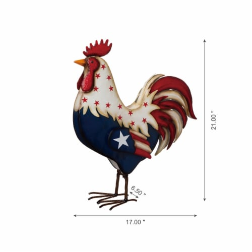 Glitzhome Patriotic Stars Metal Rooster Porch Decor Perspective: bottom