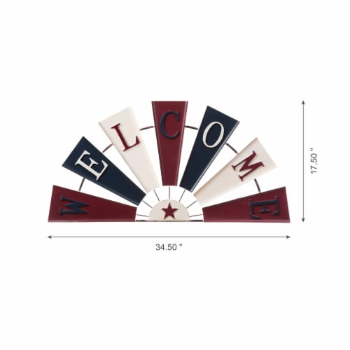 Glitzhome Patriotic Welcome Metal Spinner Wall Sign Perspective: bottom