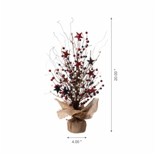 Glitzhome Patriotic Americana Table Tree Decor Perspective: bottom