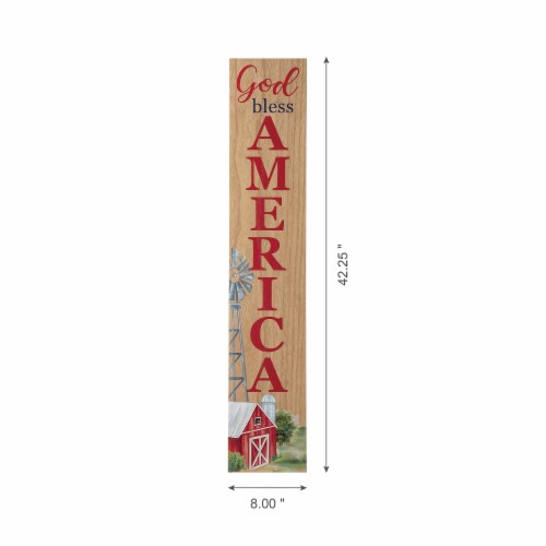 Glitzhome Patriotic Wooden Porch Sign Standing/Hanging Decor Perspective: bottom