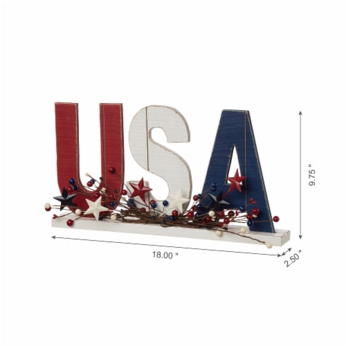 Glitzhome Patriotic Wooden USA Table Decor Perspective: bottom