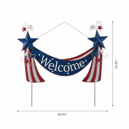 Glitzhome Patriotic Welcome Metal Yard Stake/Wall Sign Perspective: bottom