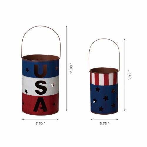 Glitzhome Patriotic USA Metal Cut-Out Star Lantern Set Perspective: bottom