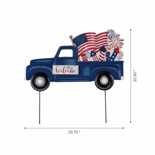 Glitzhome Americana Metal Truck Yard Stake/Wall Sign Perspective: bottom