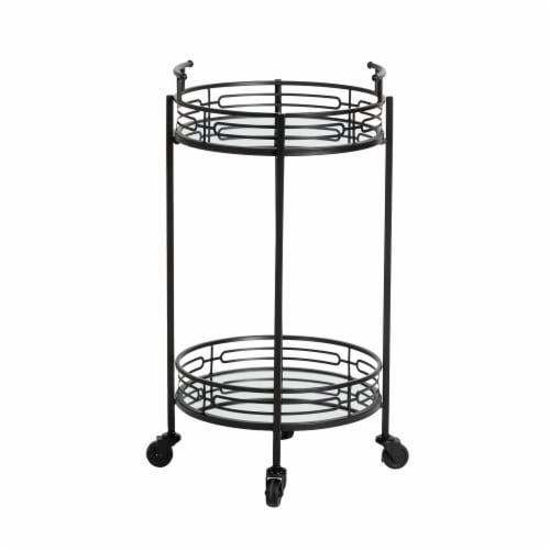 Glitzhome Deluxe 2-Tier Metal Bar Cart - Black Perspective: bottom