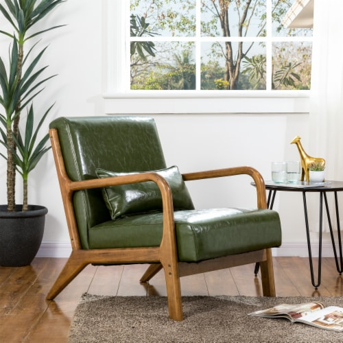 Glitzhome PU Leather Accent Armchair - Hunter Green Perspective: bottom