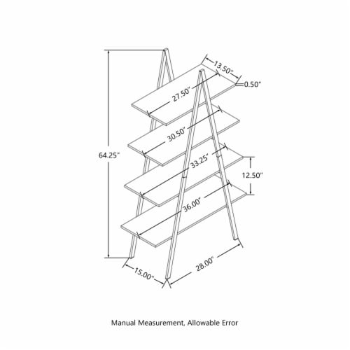 Glitzhome 4-Tiered Industrial Shelves - Black Oak Perspective: bottom
