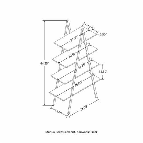 Glitzhome 4-Tiered Metal & Wood Industrial Shelf - Oak Perspective: bottom